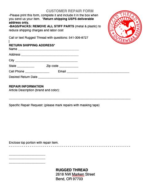 Customer repair form